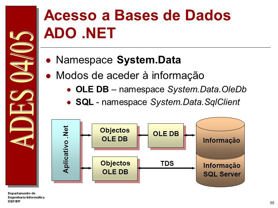 Acesso a Bases de Dados ADO .NET