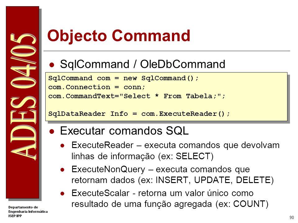Objecto Command SqlCommand / OleDbCommand Executar comandos SQL