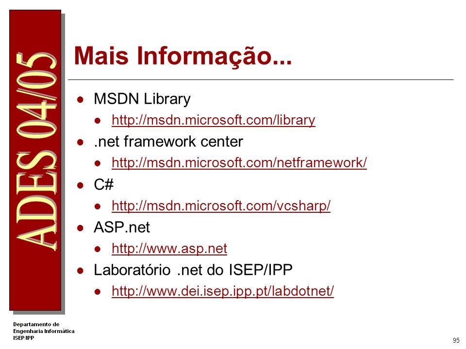 Mais Informação... MSDN Library .net framework center C# ASP.net