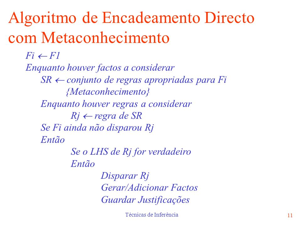 Algoritmo de Encadeamento Directo com Metaconhecimento