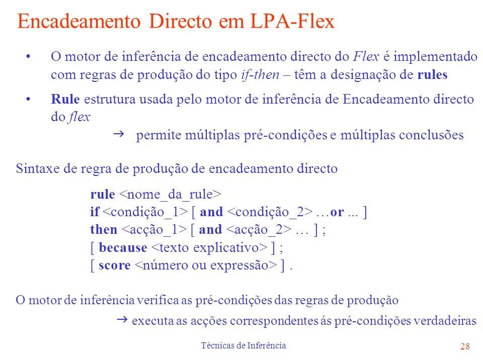 Encadeamento Directo em LPA-Flex