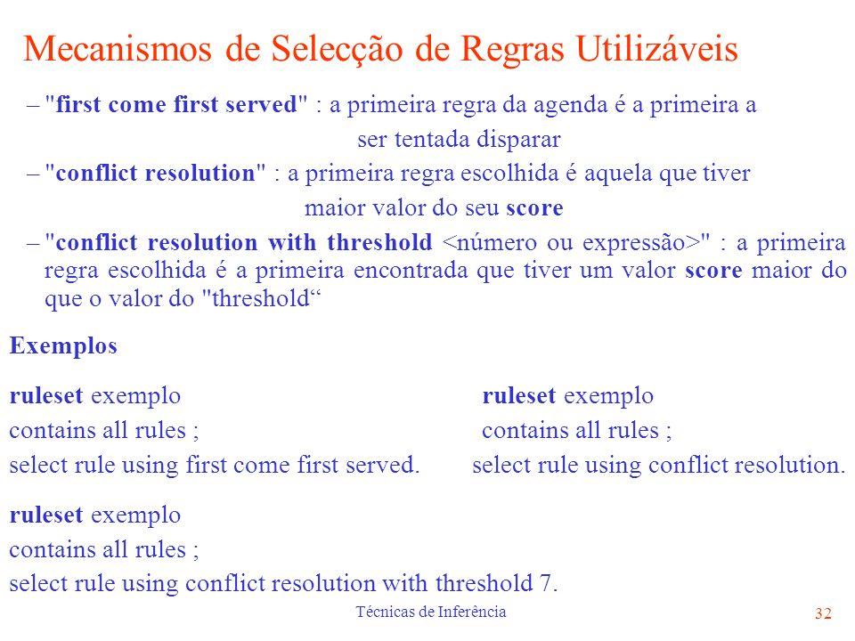 Mecanismos de Selecção de Regras Utilizáveis