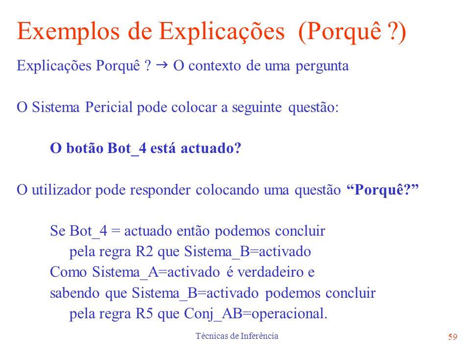 Exemplos de Explicações (Porquê )