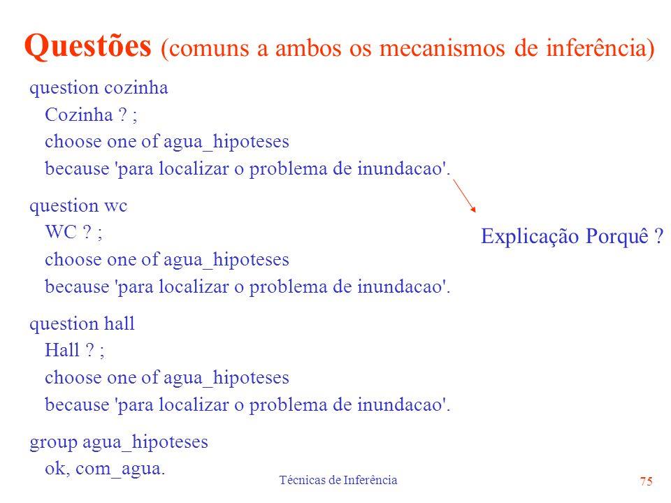 Questões (comuns a ambos os mecanismos de inferência)