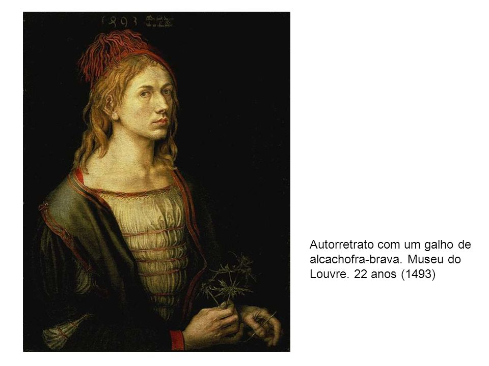 Autorretrato com um galho de alcachofra-brava. Museu do Louvre