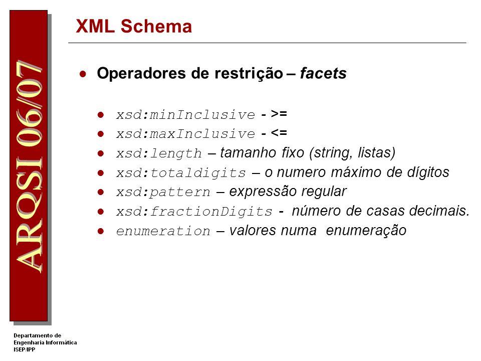 XML Schema Operadores de restrição – facets xsd:minInclusive - >=