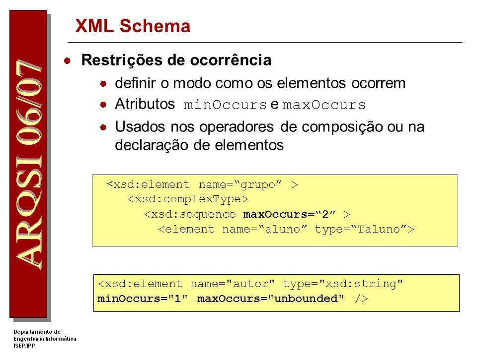 XML Schema Restrições de ocorrência