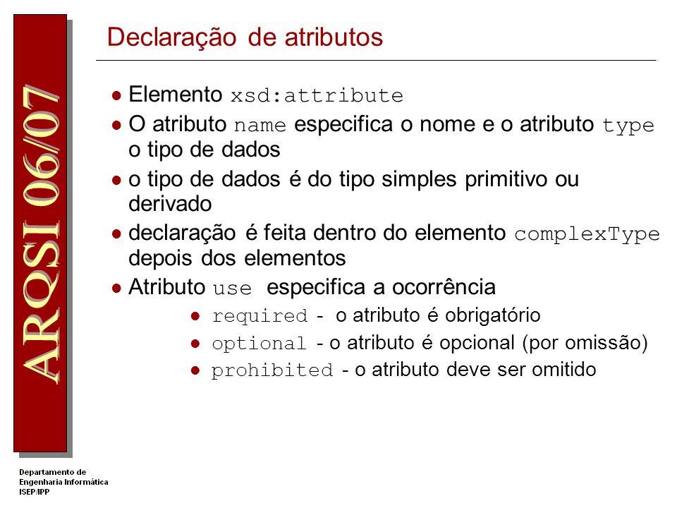 Declaração de atributos
