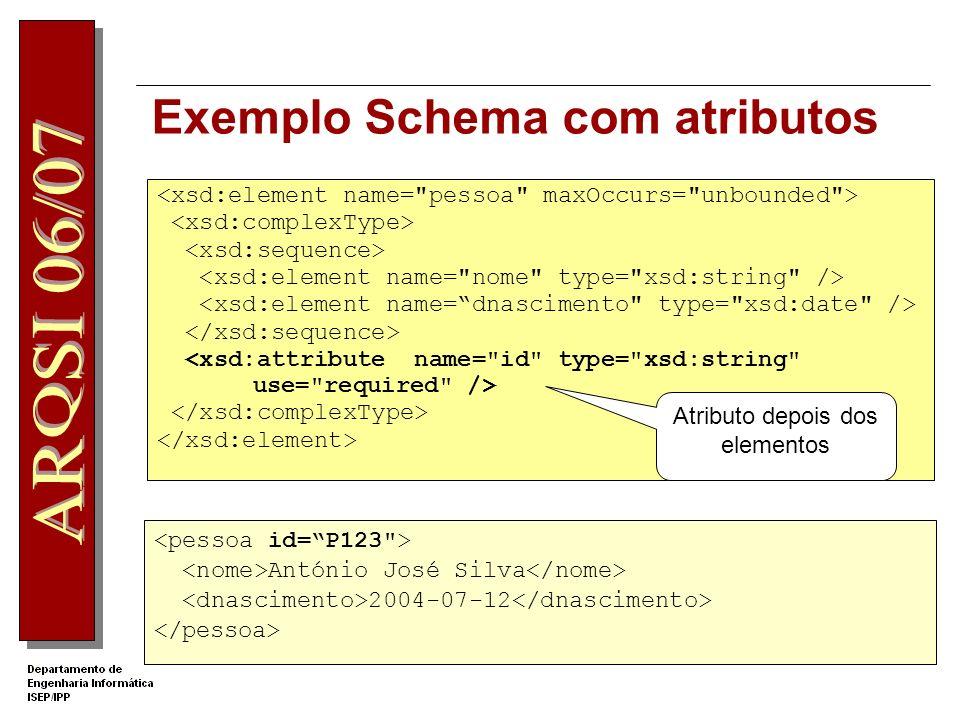 Exemplo Schema com atributos