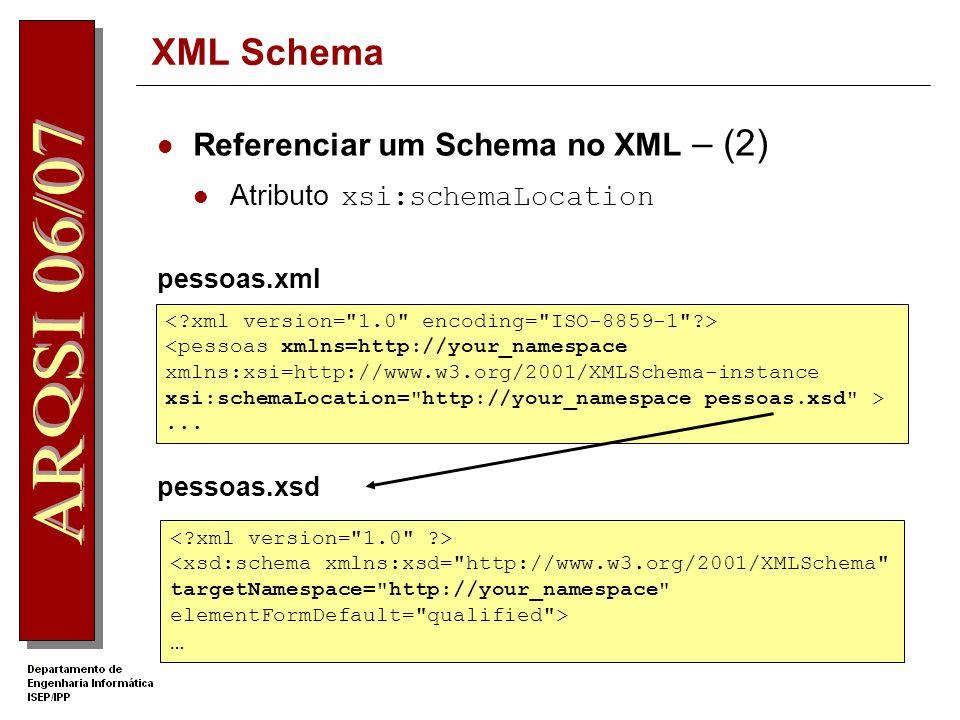 XML Schema Referenciar um Schema no XML – (2)