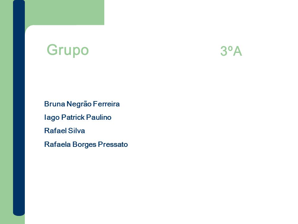 Grupo 3ºA Bruna Negrão Ferreira Iago Patrick Paulino Rafael Silva