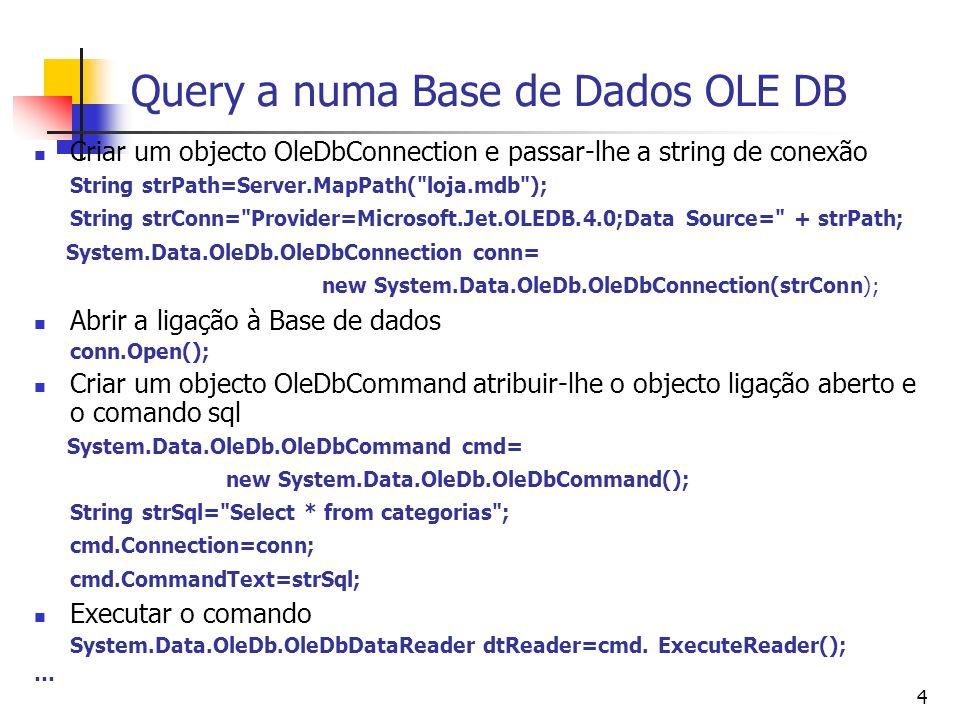Query a numa Base de Dados OLE DB