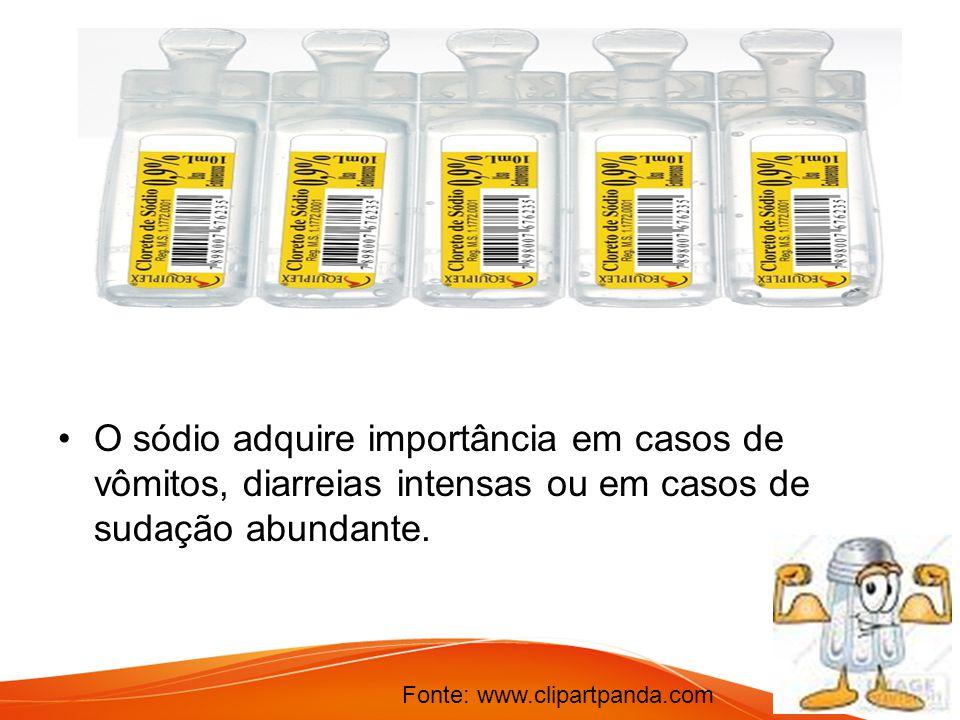 O sódio adquire importância em casos de vômitos, diarreias intensas ou em casos de sudação abundante.