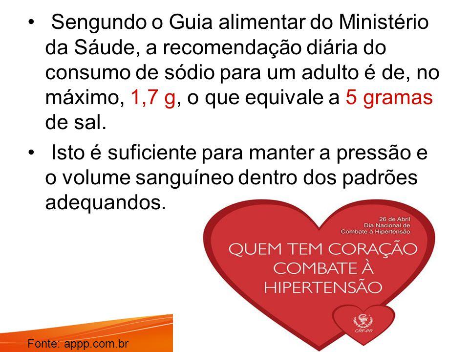 Sengundo o Guia alimentar do Ministério da Sáude, a recomendação diária do consumo de sódio para um adulto é de, no máximo, 1,7 g, o que equivale a 5 gramas de sal.