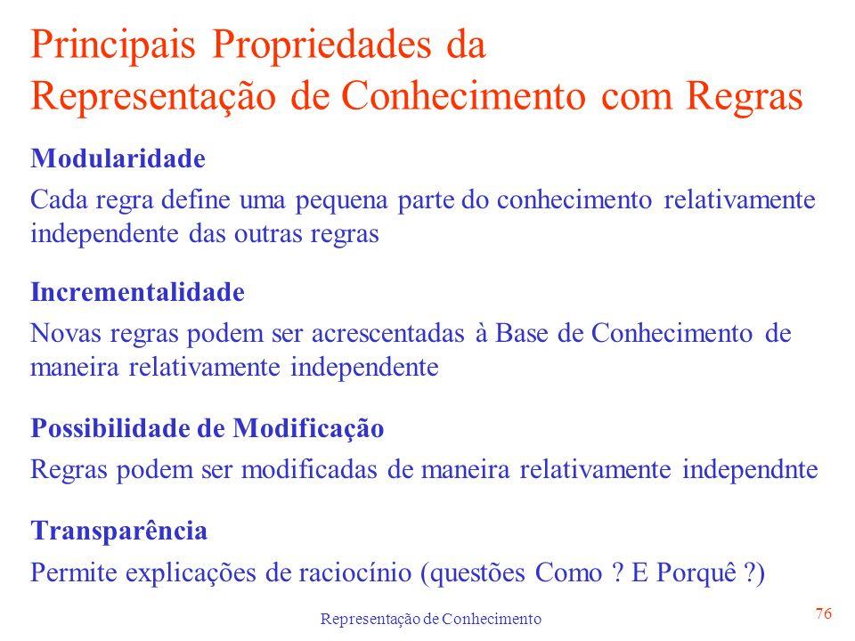 Principais Propriedades da Representação de Conhecimento com Regras