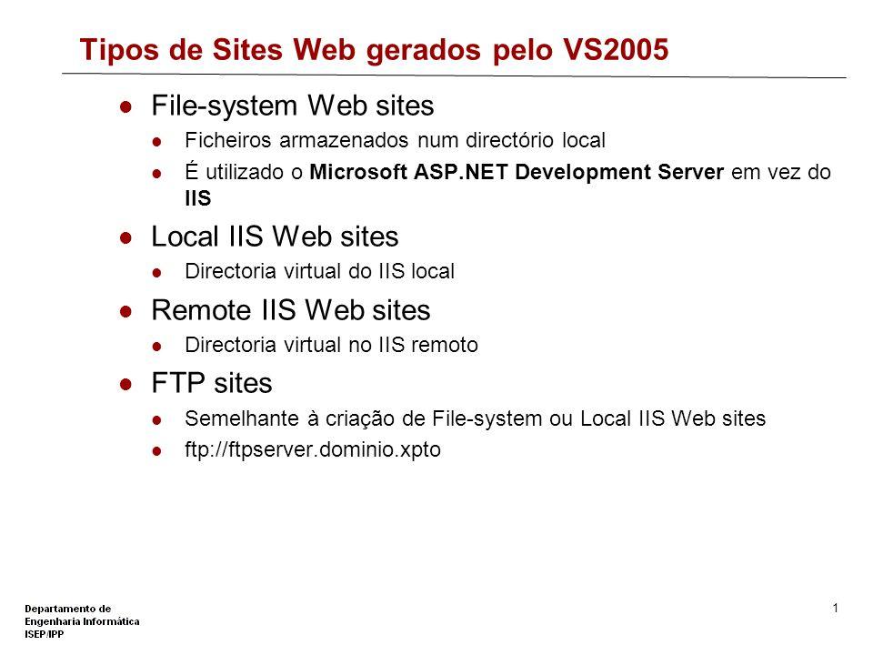 Tipos de Sites Web gerados pelo VS2005