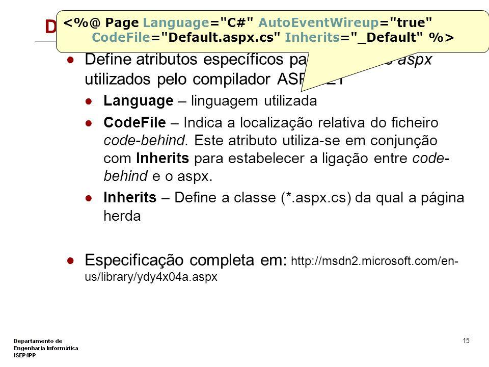 Directiva @Page <%@ Page Language= C# AutoEventWireup= true CodeFile= Default.aspx.cs Inherits= _Default %>