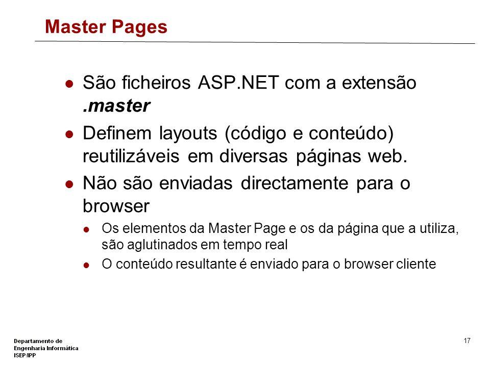 São ficheiros ASP.NET com a extensão .master