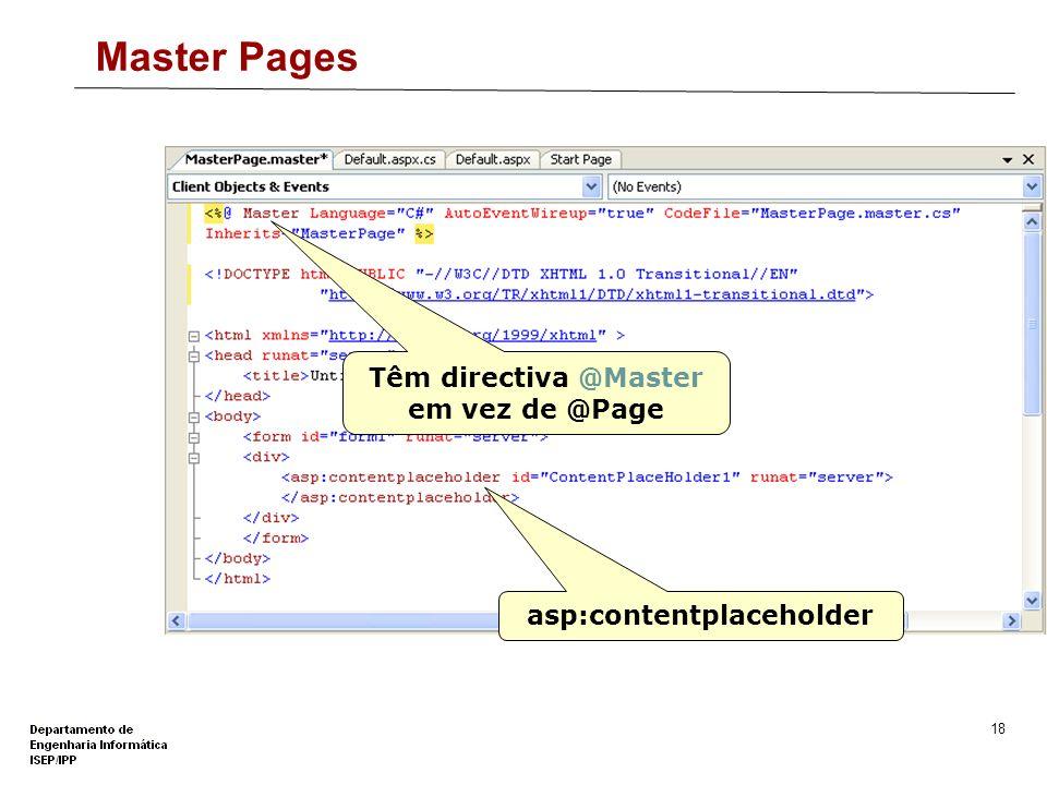 Têm directiva @Master em vez de @Page asp:contentplaceholder