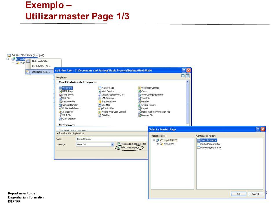Exemplo – Utilizar master Page 1/3