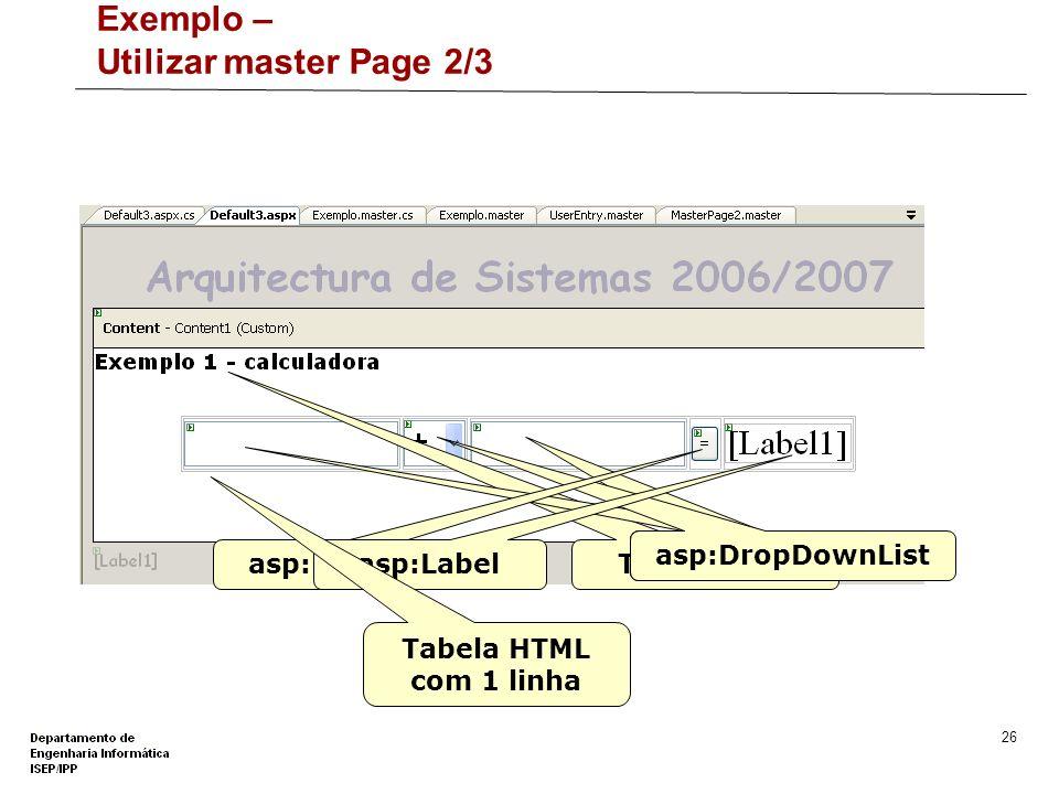 Exemplo – Utilizar master Page 2/3