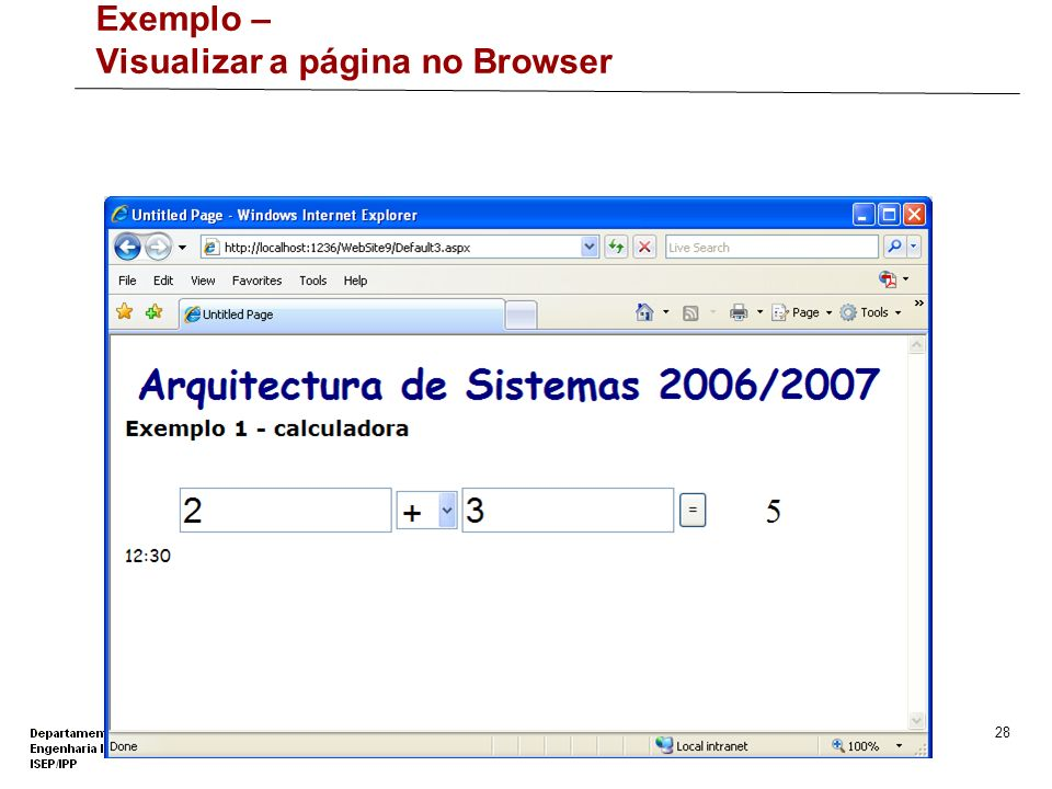Exemplo – Visualizar a página no Browser