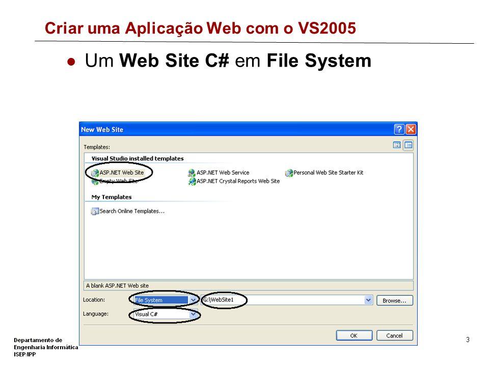 Criar uma Aplicação Web com o VS2005