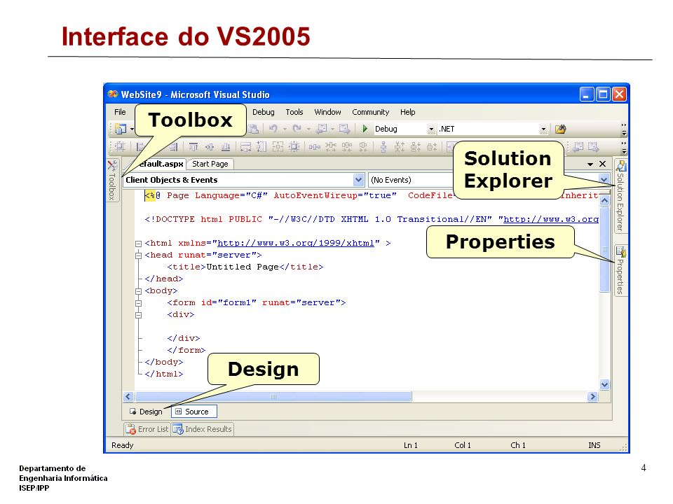 Interface do VS2005 Toolbox Solution Explorer Properties Design