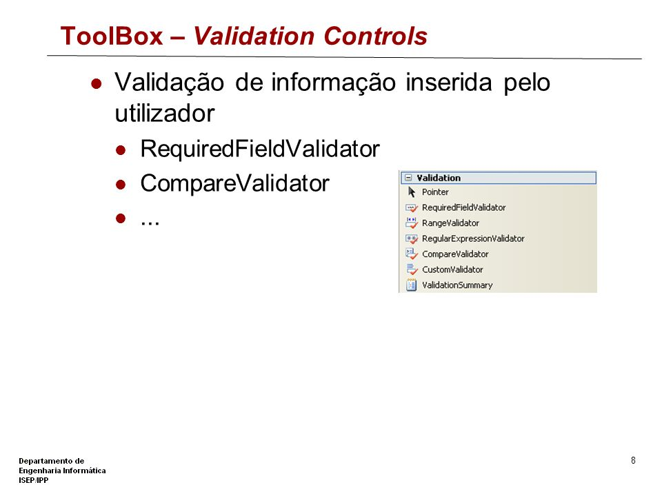 ToolBox – Validation Controls