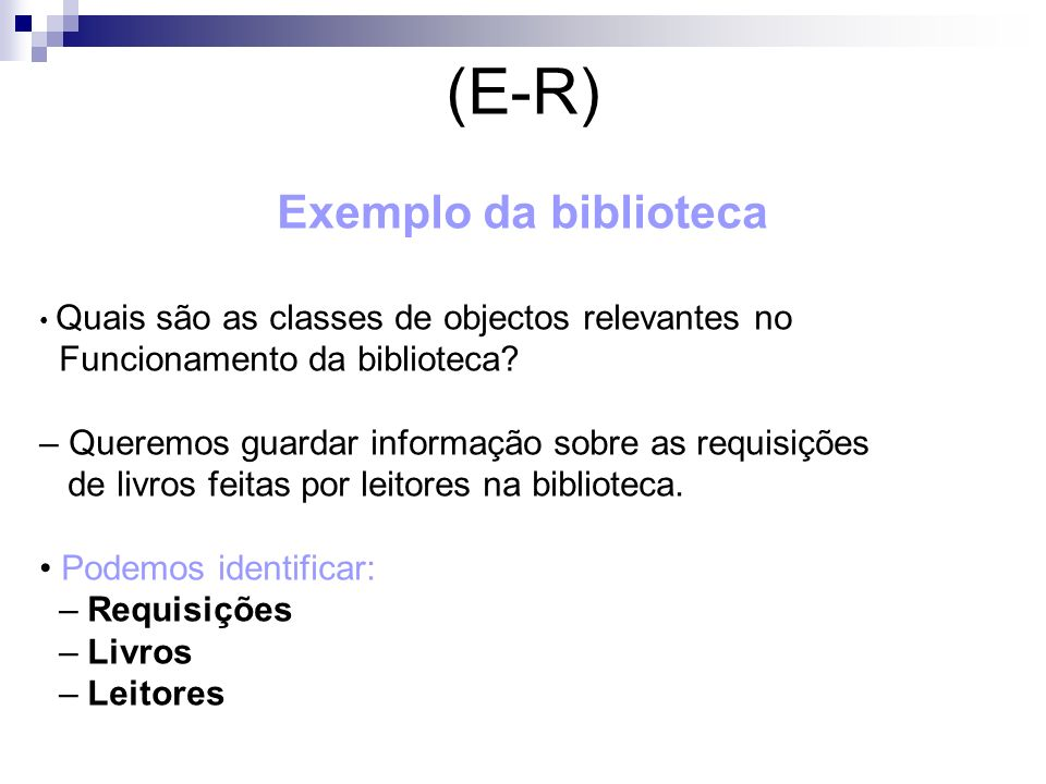 (E-R) Exemplo da biblioteca Funcionamento da biblioteca