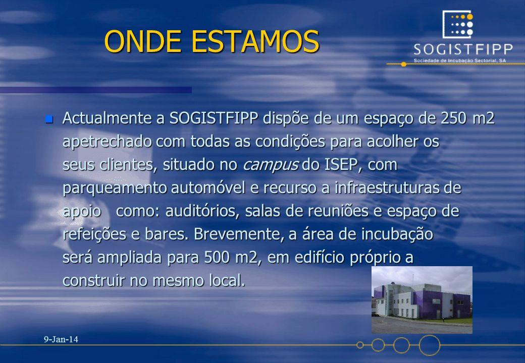 ONDE ESTAMOS Actualmente a SOGISTFIPP dispõe de um espaço de 250 m2