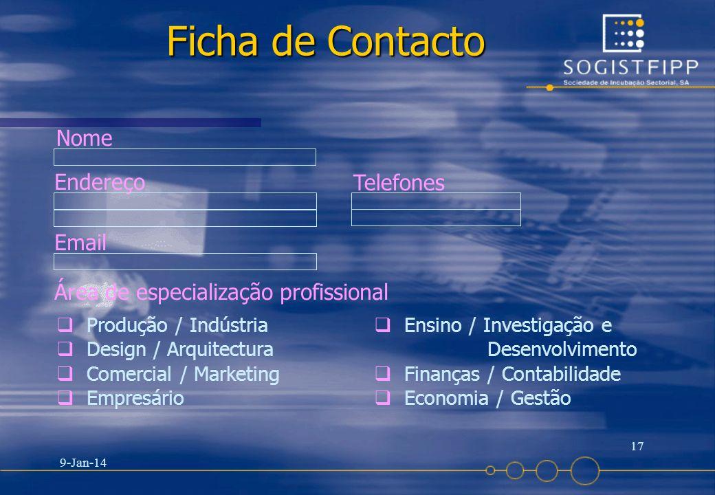 Ficha de Contacto Nome Endereço Telefones Email