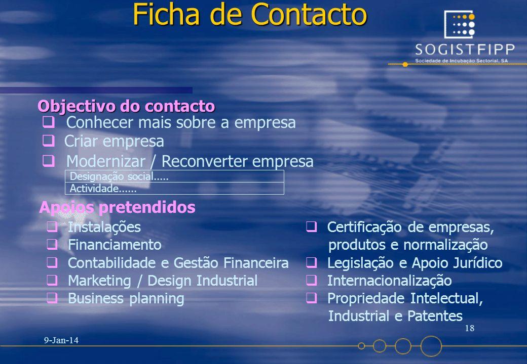 Ficha de Contacto Objectivo do contacto Conhecer mais sobre a empresa