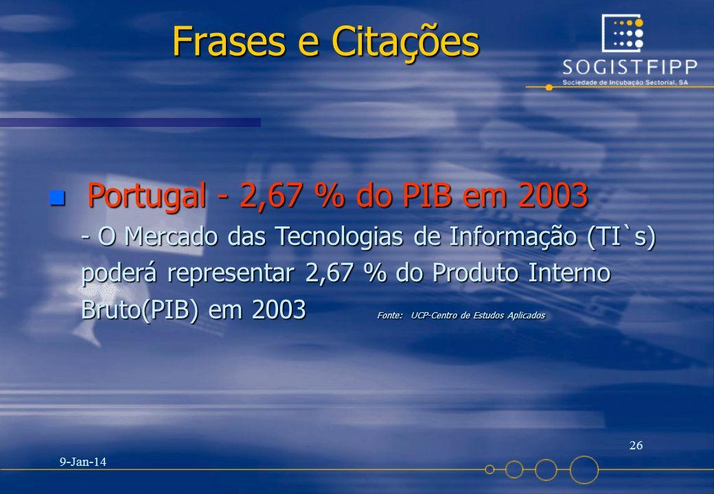 Frases e Citações Portugal - 2,67 % do PIB em 2003