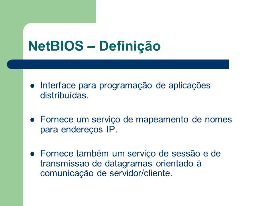 NetBIOS – Definição Interface para programação de aplicações distribuídas. Fornece um serviço de mapeamento de nomes para endereços IP.