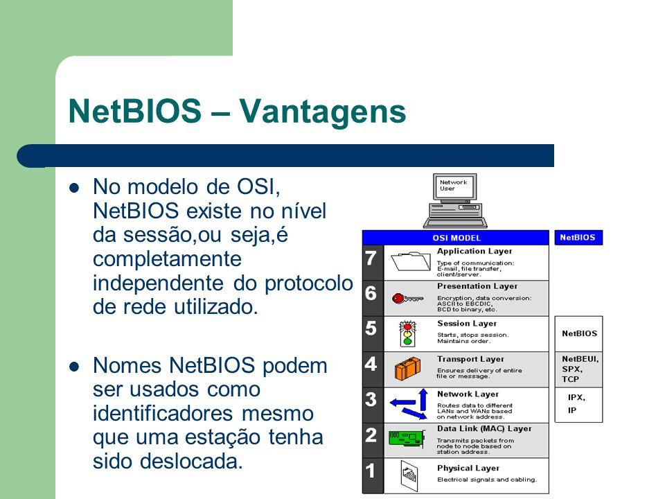NetBIOS – Vantagens No modelo de OSI, NetBIOS existe no nível da sessão,ou seja,é completamente independente do protocolo de rede utilizado.
