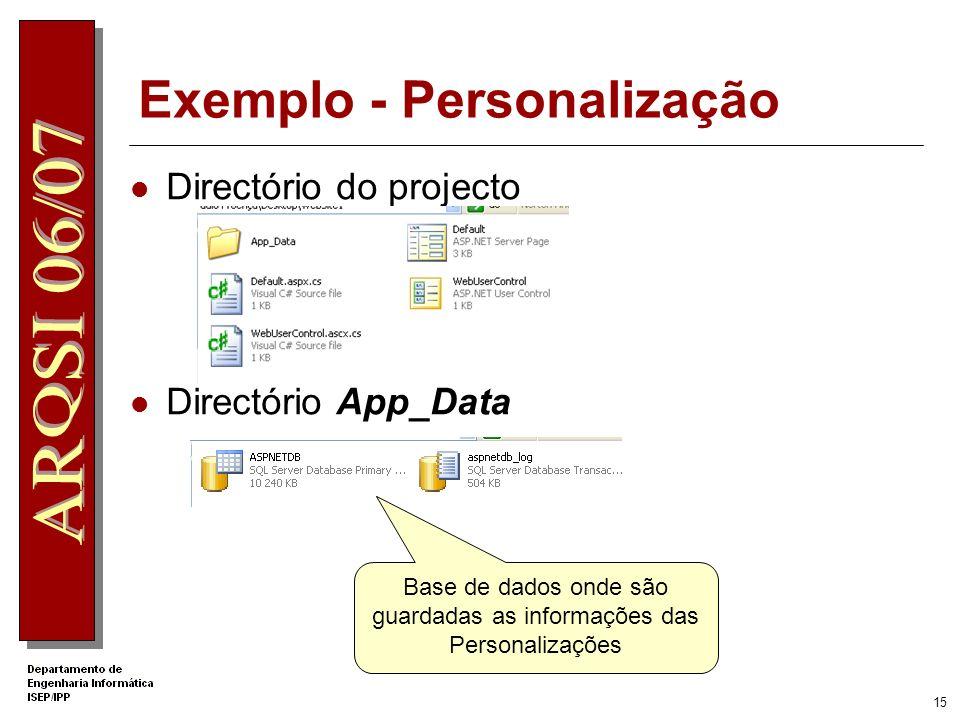 Exemplo - Personalização