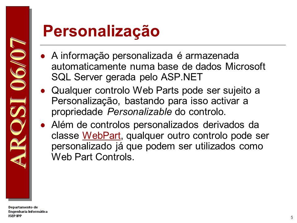 Personalização A informação personalizada é armazenada automaticamente numa base de dados Microsoft SQL Server gerada pelo ASP.NET.