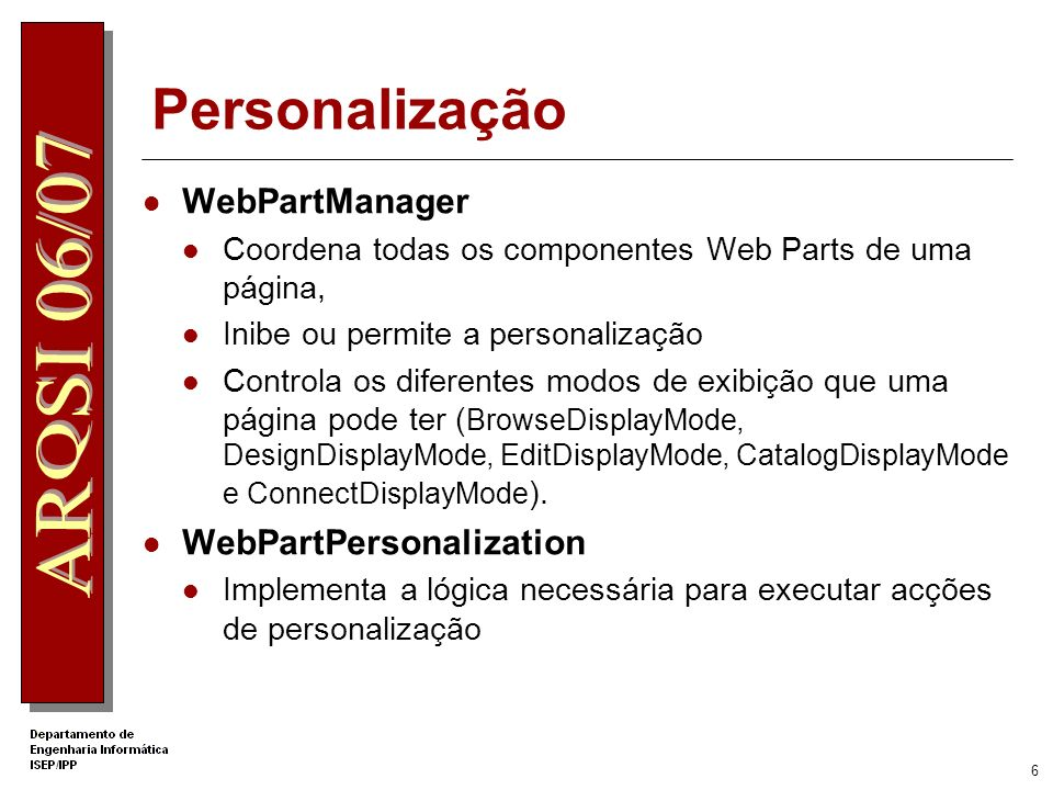 Personalização WebPartManager WebPartPersonalization
