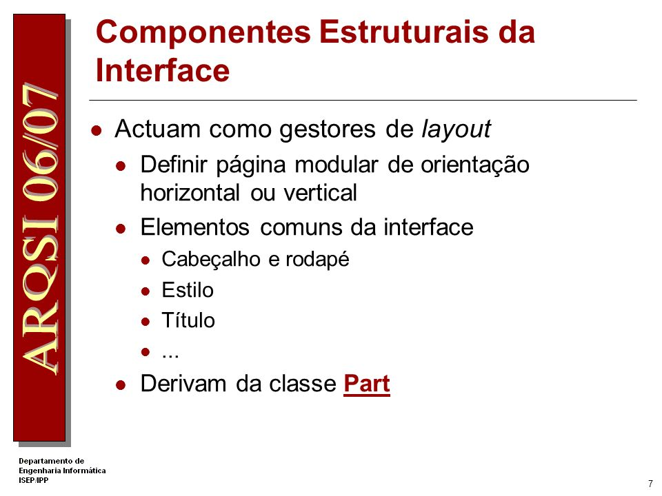 Componentes Estruturais da Interface
