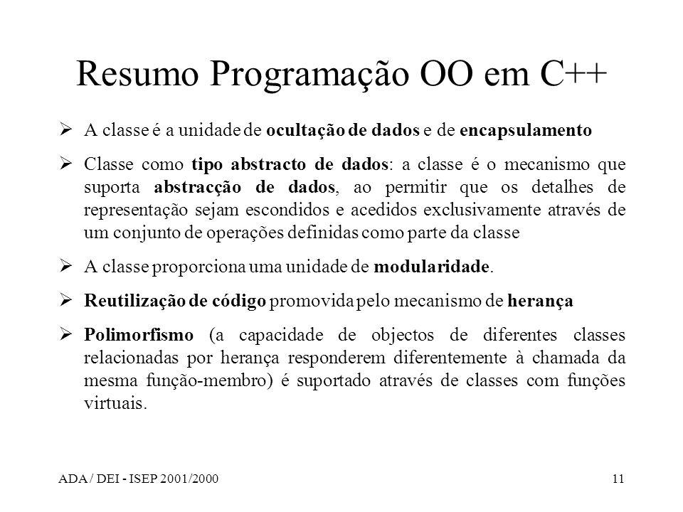 Resumo Programação OO em C++