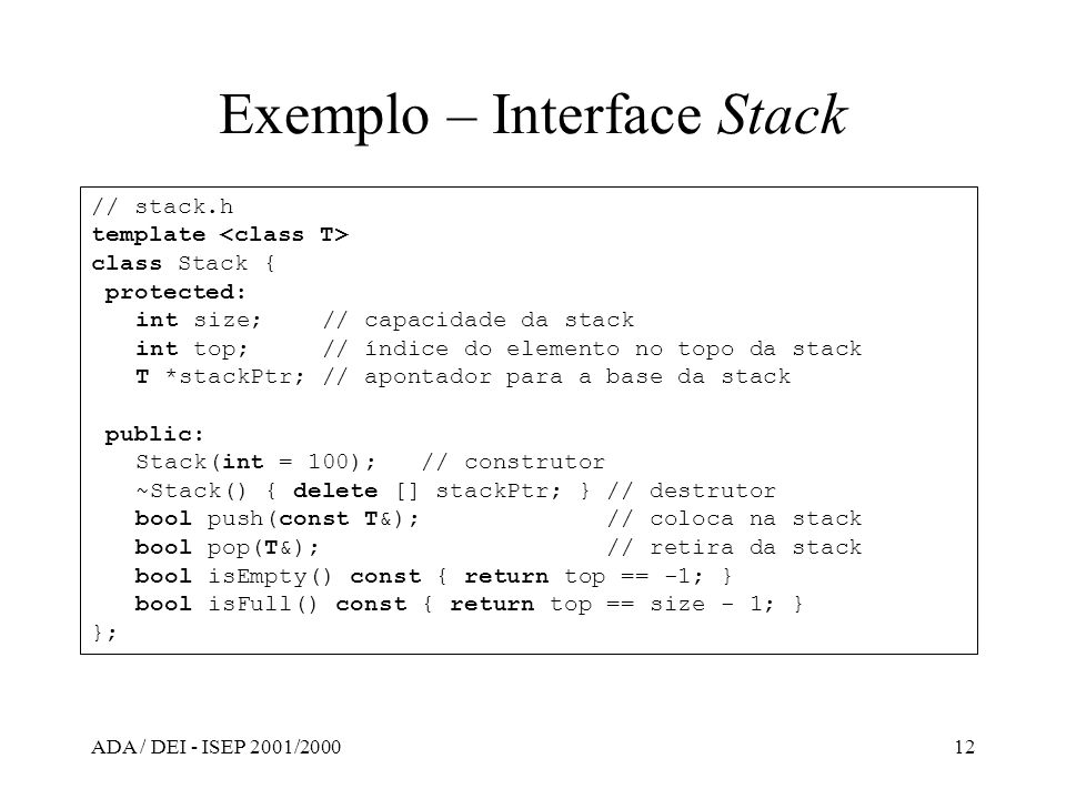 Exemplo – Interface Stack