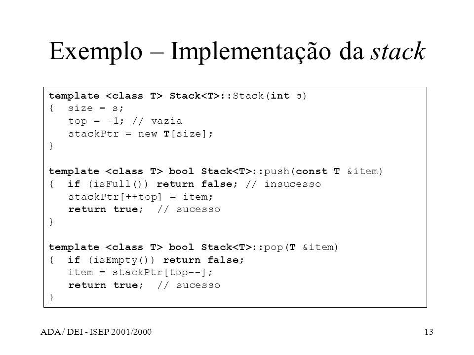 Exemplo – Implementação da stack