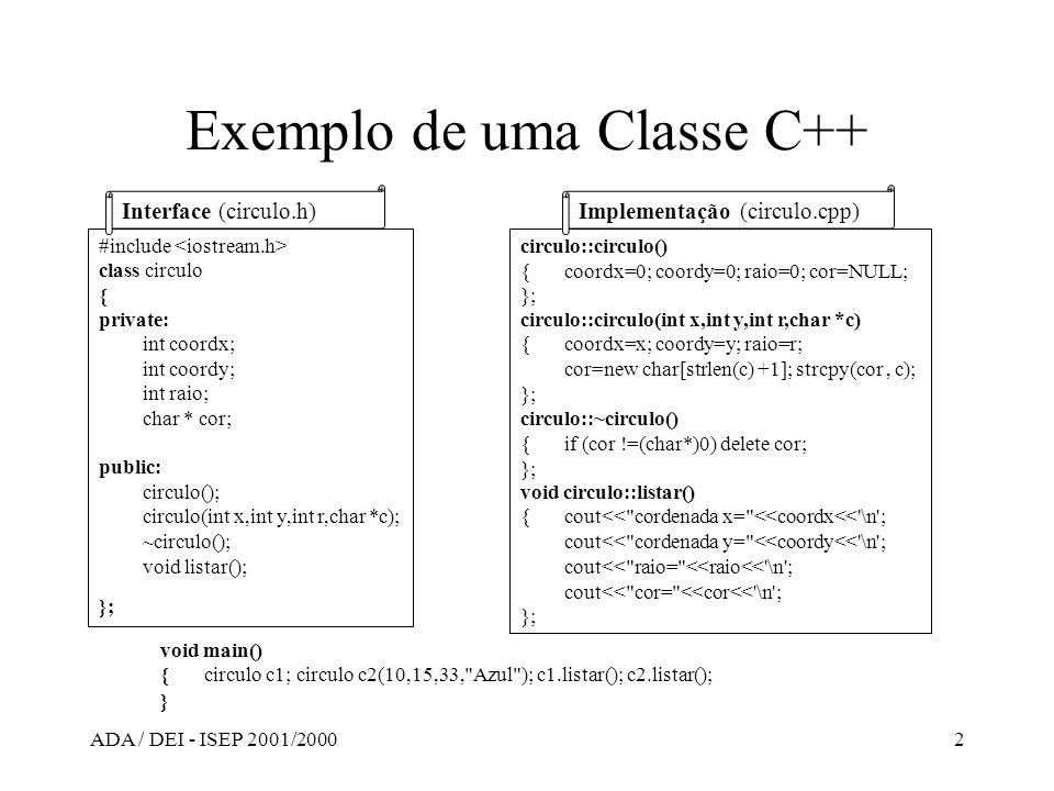 Exemplo de uma Classe C++