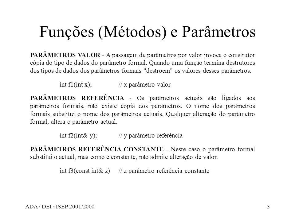 Funções (Métodos) e Parâmetros