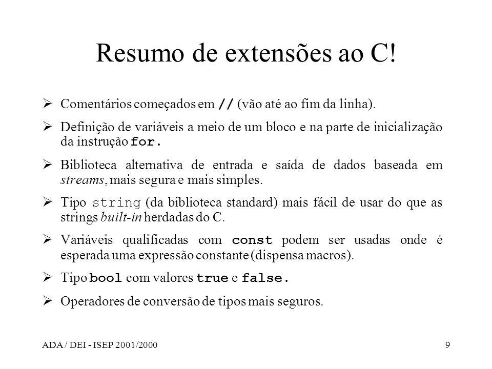 Resumo de extensões ao C!