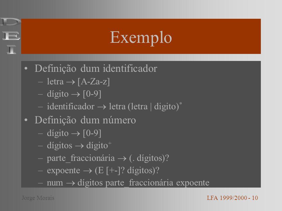Exemplo DEI Definição dum identificador Definição dum número