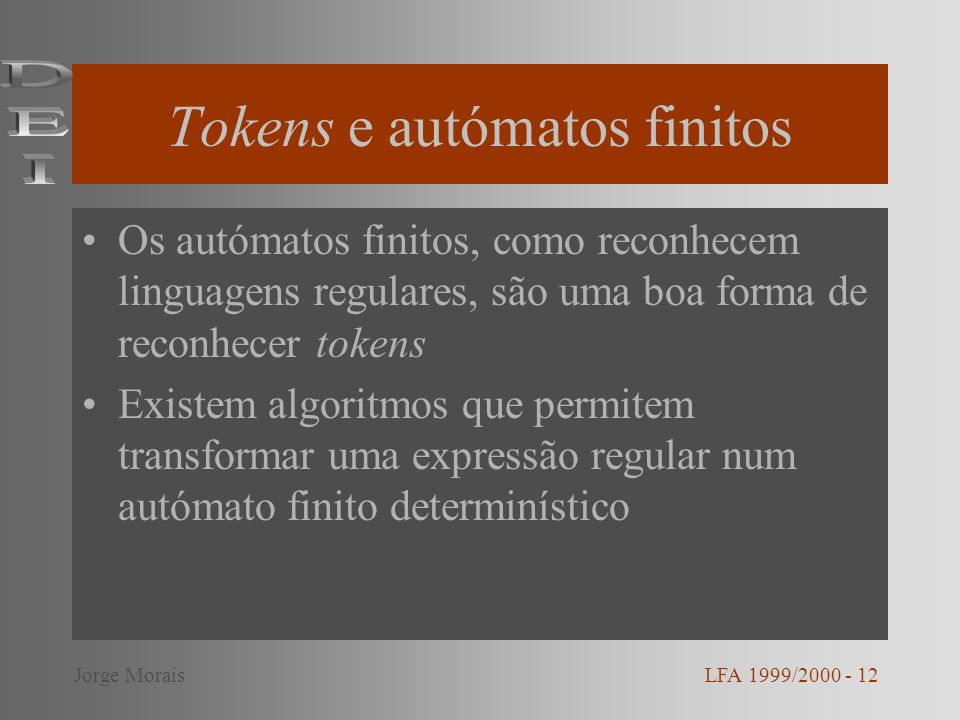 Tokens e autómatos finitos