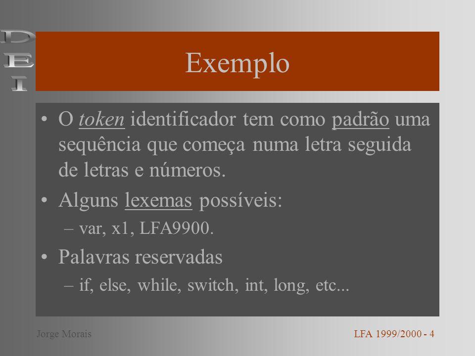 Exemplo DEI. O token identificador tem como padrão uma sequência que começa numa letra seguida de letras e números.