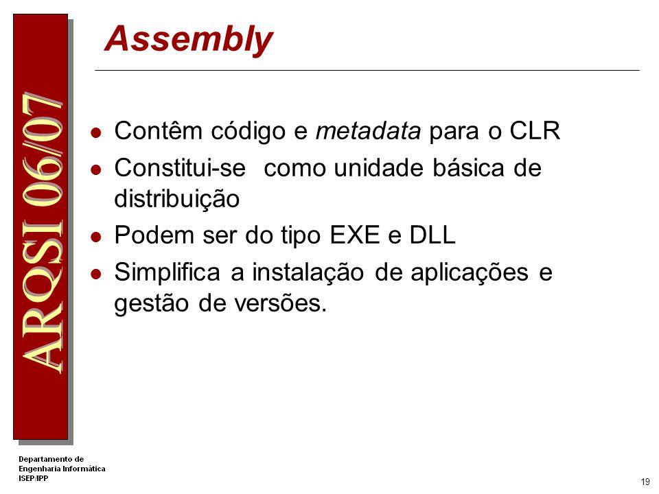 Assembly Contêm código e metadata para o CLR